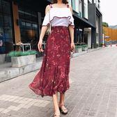 高腰甜美淑女夏季新款套裝韓版吊帶碎花雪紡兩件式洋裝 DN7338【野之旅】