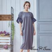【Tiara Tiara】簡約泡泡袖長洋裝(藍/灰) 新品穿搭