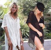 沙灘外套比基尼泳衣罩衫寬鬆長套頭V領沙灘裙