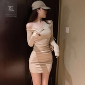 洋裝  秋季性感夜場一字領網紅修身包臀短裙螺紋長袖打底連衣裙