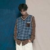 針織馬甲文藝復古格紋針織馬甲背心潮人男女情侶百搭韓版格子毛衣春季新年禮物