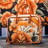 ■專櫃6折■ Balenciaga 全新真品 Blanket 466541 橙色系花毯造型小款小牛皮兩用包