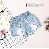 典雅精緻花朵刺繡抽鬚牛仔褲 短褲 刷白 中國風 花卉 女童 哎北比童裝