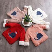 兒童針織衫男童嬰兒套頭打底衫寶寶加絨加厚圓領線衣女童毛衣冬裝 薇薇