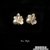 S925銀針典雅日常穿搭氣質花朵耳釘清新珍珠亮晶晶鑲鉆珍珠耳飾 極簡雜貨