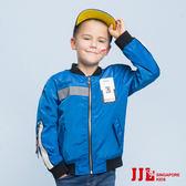 JJLKIDS 男童 時尚潮流字母印花飛行夾克外套棒球外套(彩藍)