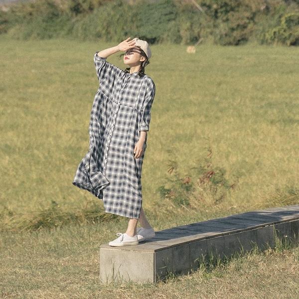 Queen Shop【01085306】格紋造型棉麻寬版長洋裝*現+預*