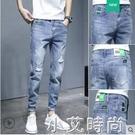 褲子男士夏季薄款韓版潮流修身小腳褲2021新款潮牌破洞九分牛仔褲 小艾新品