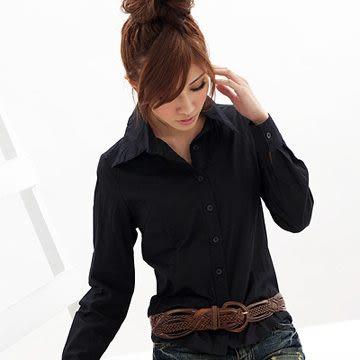 襯衫--俐落基本款素面剪裁百搭長袖襯衫(白.黑S-4L)-H33眼圈熊中大尺碼