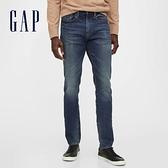 Gap男裝 時尚貓須紋直筒中腰牛仔褲 618962-水洗藍