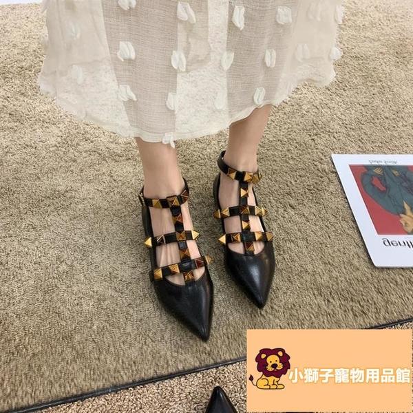 羅馬鞋潮夏仙女風夏季涼鞋女百搭鉚釘粗跟【小狮子】