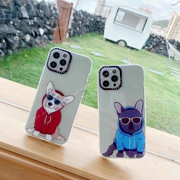 墨鏡狗狗 iPhone SE2 XS Max XR i7 i8 plus 透明手機殼 創意個性 彩邊卡通 保護殼保護套 防摔軟殼