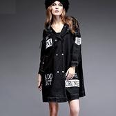女牛仔外套中長版-歐洲風格連帽寬鬆單寧夾克72m8[巴黎精品]