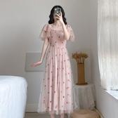 圓領洋裝連身裙S-XL新款法式複古甜美刺繡網紗連衣裙H318-D-6832.1號公館