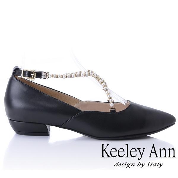 ★2018秋冬★Keeley Ann氣質甜美~華麗珠寶交叉全真皮平低跟鞋(黑色)