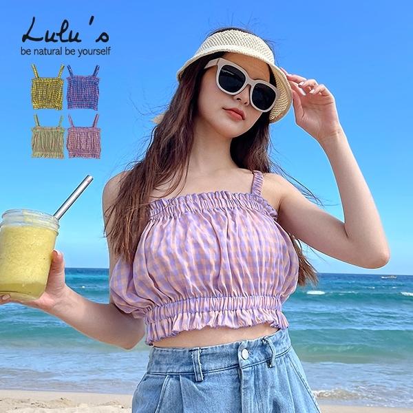 LULUS【A01210265】Y配色格紋縮腰上衣4色