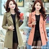 春季新款寬版修身雙排扣百搭氣質顯瘦中長款女裝長袖風衣外套 檸檬衣舎