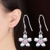 創意玫瑰花耳環 甜美日韓櫻花粉鑽鍍銀耳墜 女耳飾品《小師妹》ps358