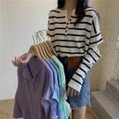 長袖上衣 秋季韓版新款心機上衣設計感破洞條紋寬鬆女裝長袖冰絲針織衫 韓美e站