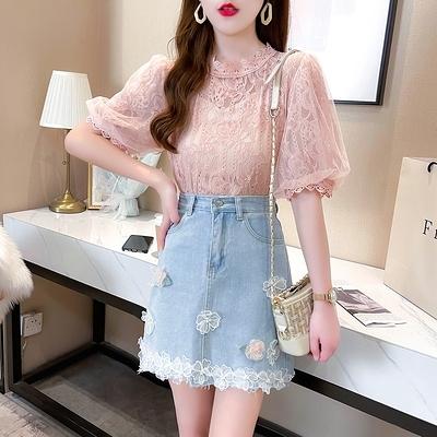 短袖套裝~3710#夏季名媛宮廷風洋氣蕾絲衫立體花朵裝飾牛仔半身裙套裝H311-E胖妞衣櫥