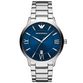【台南 時代鐘錶 Emporio Armani】亞曼尼 AR11227 羅馬字 日期顯示 鋼錶帶男錶 藍/銀 43mm