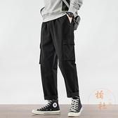 工裝褲男直筒寬鬆闊腿機能九分褲百搭休閒長褲【橘社小鎮】