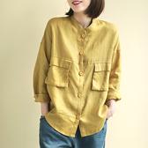 棉麻襯衫 純色工裝襯衫 立領長袖上衣/2色-夢想家-0214