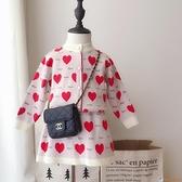 女童洋裝裙1-4-5歲韓版淑女毛衣套裝兒童春秋愛心針織衫兩件套【公主日記】