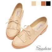 樂福鞋 紳士風格蝴蝶結流蘇軟底低跟鞋-卡其