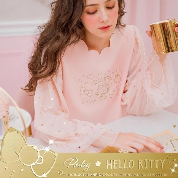 上衣 Hello Kitty x Ruby 聯名款.花邊領後蝴蝶結長袖上衣-Ruby s 露比午茶