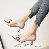 韓版氣質蝴蝶結尖頭淺口純色百搭粗跟高跟單鞋女鞋子 美斯特精品