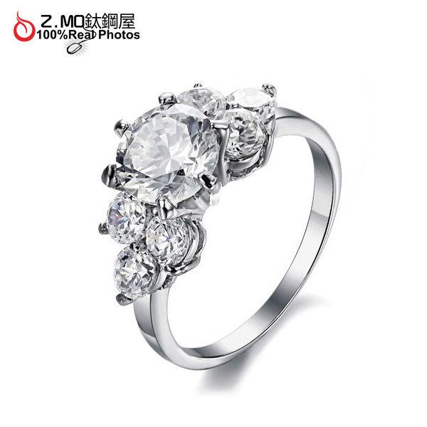 [Z-MO鈦鋼屋]華麗公主精美鑽戒/七顆水鑽閃耀光芒/女性鋼戒指/配戴舒適不過敏單件價【BKS4418】