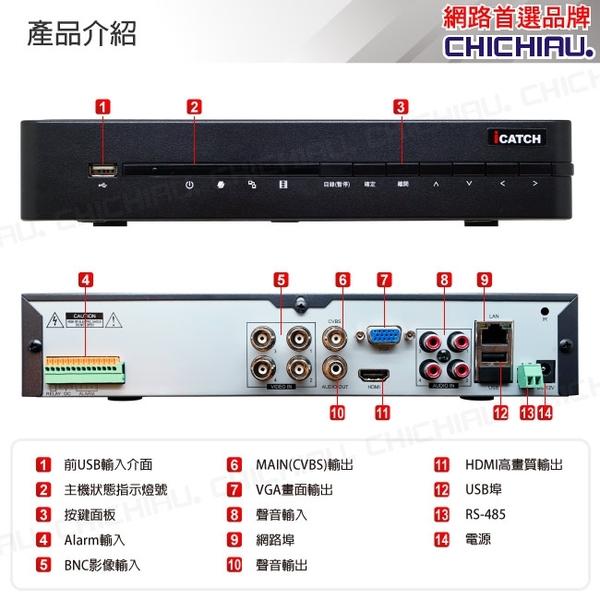 【CHICHIAU】H.265 4路4聲DTV 800萬AHD TVI CVI 5MP台製iCATCH數位高清遠端監控錄影主機(有警報輸入)