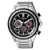 CITIZEN Eco-Drive 分秒競速三眼光動能腕錶-黑框黑