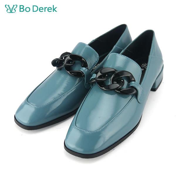 【Bo Derek 】復古漆皮樂福鞋-藍色