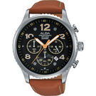 ALBA 雅柏 RACE 極限賽車計時手錶-黑x棕/45mm VD53-X236J(AT3959X1)