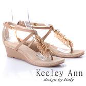 Keeley Ann璀璨光芒~MIT金屬樹葉寶石垂飾楔形涼鞋(米色)