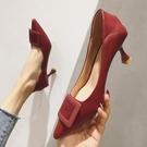 高跟鞋女春秋季新款百搭時尚紅色婚鞋秋冬尖頭細跟單鞋女秋款  夏季上新