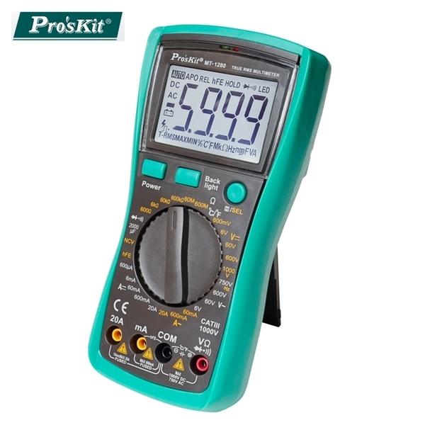 又敗家@台灣製Proskt寶工抗摔3 1/2數位電錶MT-1280萬用電表三用電表附錶棒探頭量三極電晶體電壓
