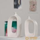 現代白色陶瓷干花花瓶水培家居歐式裝飾客廳插花擺件【小獅子】