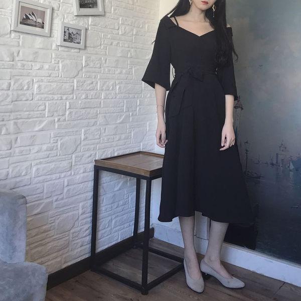 大碼女裝一字領吊帶禮服裙收腰連身裙