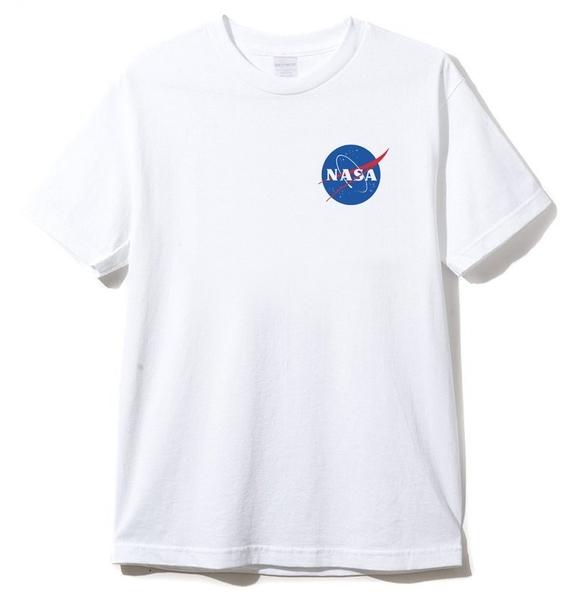 左胸小NASA Small logo 男女短袖T恤 白色 短tee 衣服 短T 寬鬆 韓 美國 太空總署 美國 亞洲版型