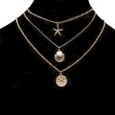 合金項鍊(三件套)-硬幣海星貝殼女鎖骨鍊73uz9[時尚巴黎]