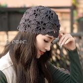 頭巾帽帽子女韓版潮夏季蕾絲薄款女士遮白髮鏤空編織瓜皮頭巾包頭貝雷帽 快速出貨