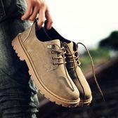 夏季短靴男正韓潮流休閒鞋工裝大頭皮鞋低筒復古板鞋馬丁靴男靴子【萌森家居】