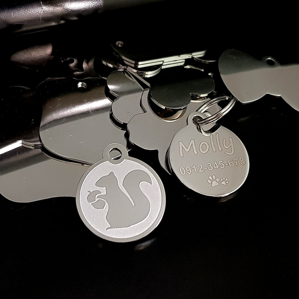 【Fulgor Jewel】富狗名牌 客製化防走失 設計款松鼠 西德鋼 寵物吊牌 狗牌 姓名牌 免費鐳射刻字