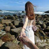 洋裝吊帶露背沙灘裙女夏新品溫柔裙海邊度假超仙掛脖收腰連身裙子白色洋裝S-XLxw
