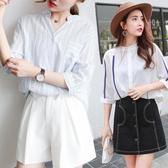 棉麻襯衫女夏韓版寬鬆大碼條紋七分袖