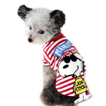 【PET PARADISE 寵物精品】SNOOPY 刺繡紅條紋棉質上衣(3S) 狗衣服 寵物衣服 秋季新品