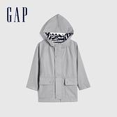 Gap男幼童 潮酷防潑水連帽外套 681562-銀色